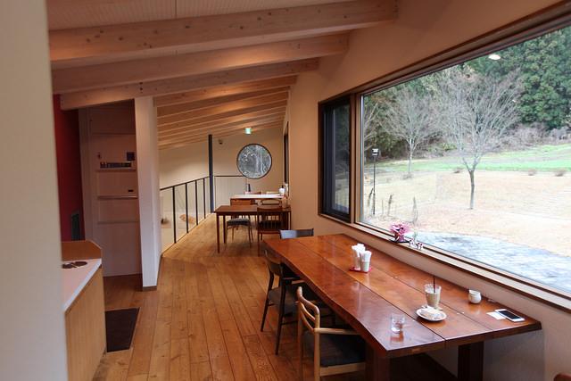 Cafe seating upstairs at Satoya.  Beautiful views of nature from these windows!
