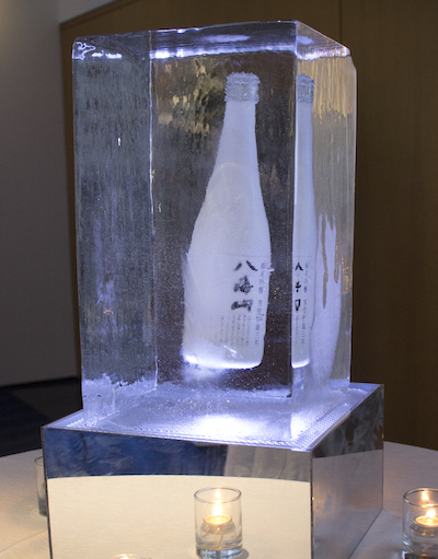 Hakkaisan Snow-Aged sake displayed in Ice.