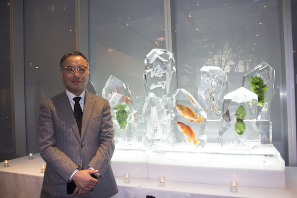 President Jiro Nagumo introduces Hakkaisan Snow-Aged Junmai Ginjo 3 Years to the guests at the sake launch Party at MoMA