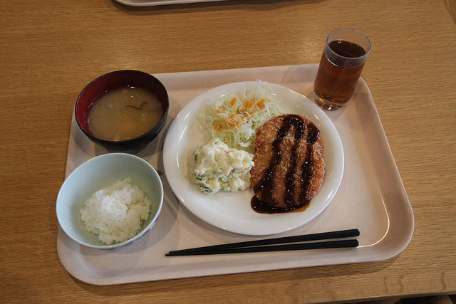 Typical Employee Lunch Tray at Minna no Shain Shokudo.  Ham Katsu, Shredded Cabbage, Potato Salad, Koshihikari rice and Miso soup.