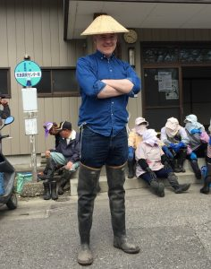 Hip waders and rice paddy hat complete the look.